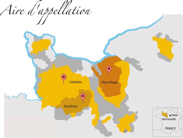 carte appellations calvados